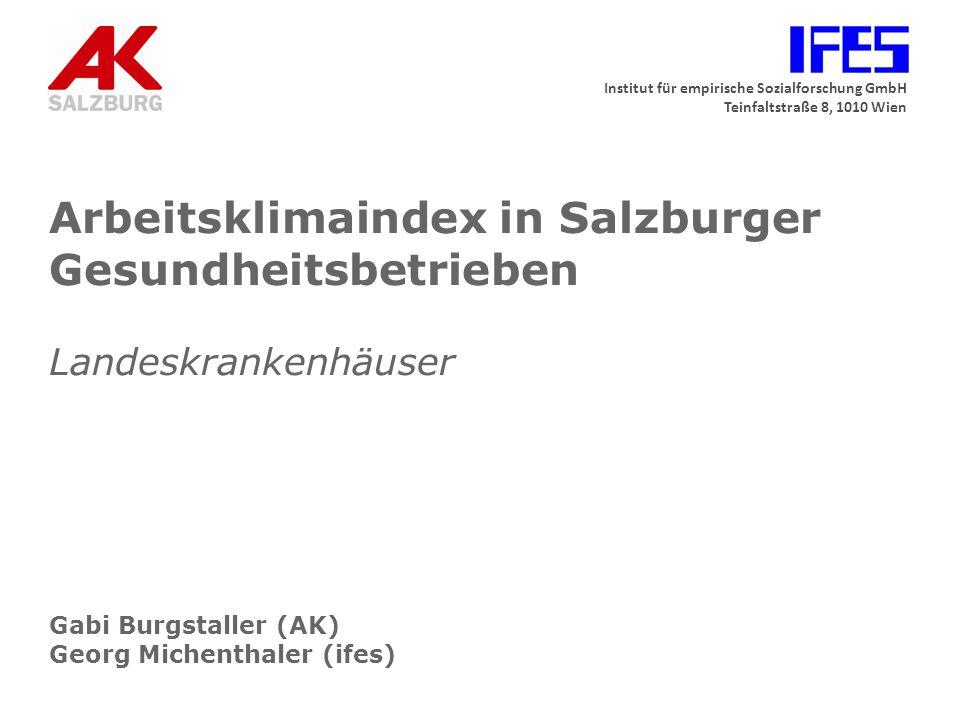 Institut für empirische Sozialforschung GmbH Teinfaltstraße 8, 1010 Wien Arbeitsklimaindex in Salzburger Gesundheitsbetrieben Landeskrankenhäuser Gabi
