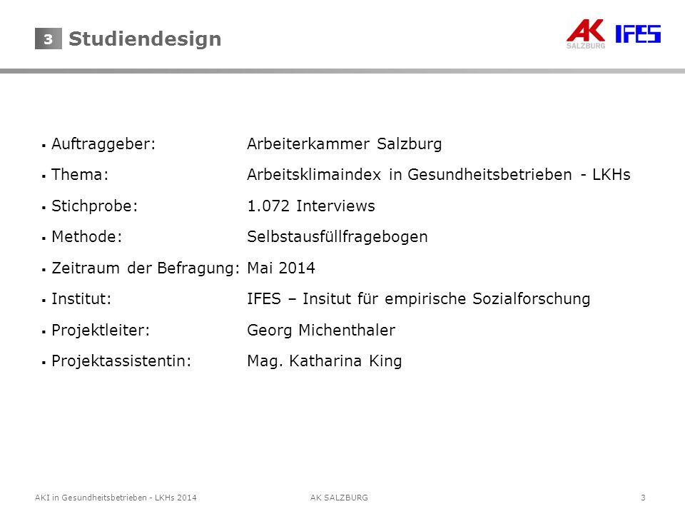 3AKI in Gesundheitsbetrieben - LKHs 2014AK SALZBURG 3  Auftraggeber:Arbeiterkammer Salzburg  Thema:Arbeitsklimaindex in Gesundheitsbetrieben - LKHs