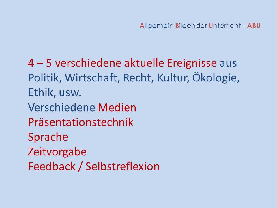 Qualifikationsverfahren Erfahrungsnoten (Durchschnitt aller ABU-Zeugnisse) Schriftliche Schlussprüfung (Einzelprüfung Themen) VA (Vertiefungsarbeit) Schlussnote ABU 1/3 A llgemein B ildender U nterricht - ABU