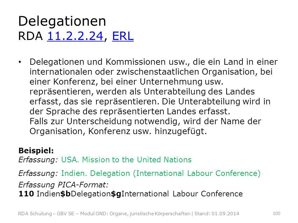 Delegationen RDA 11.2.2.24, ERL11.2.2.24ERL Delegationen und Kommissionen usw., die ein Land in einer internationalen oder zwischenstaatlichen Organis