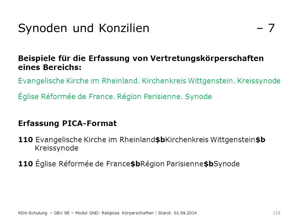 Synoden und Konzilien– 7 Beispiele für die Erfassung von Vertretungskörperschaften eines Bereichs: Evangelische Kirche im Rheinland. Kirchenkreis Witt
