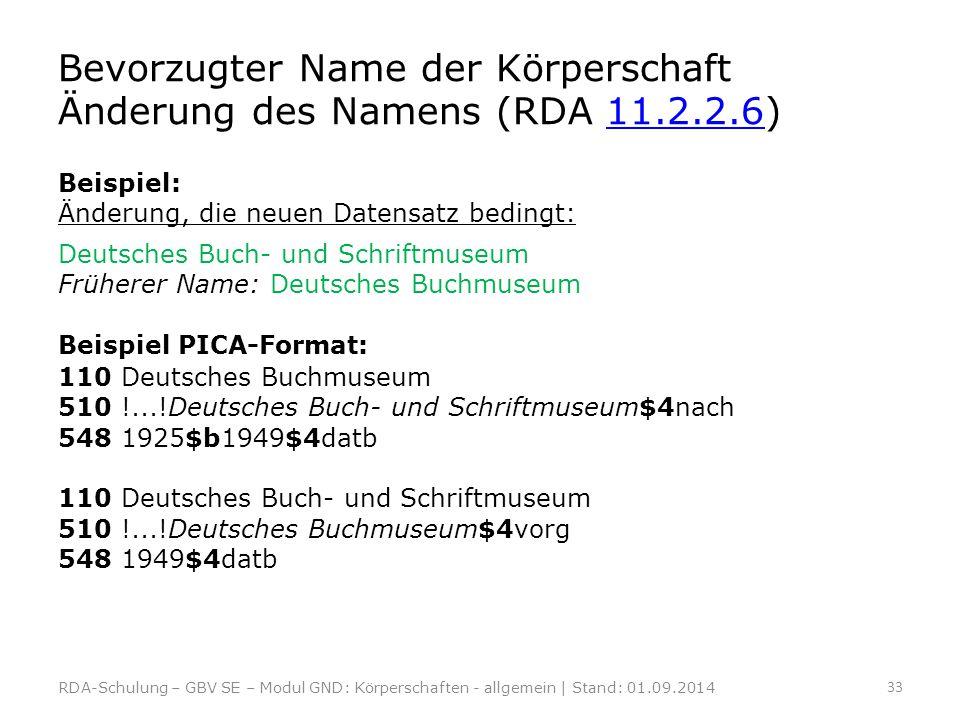Bevorzugter Name der Körperschaft Änderung des Namens (RDA 11.2.2.6)11.2.2.6 Beispiel: Änderung, die neuen Datensatz bedingt: Deutsches Buch- und Schr