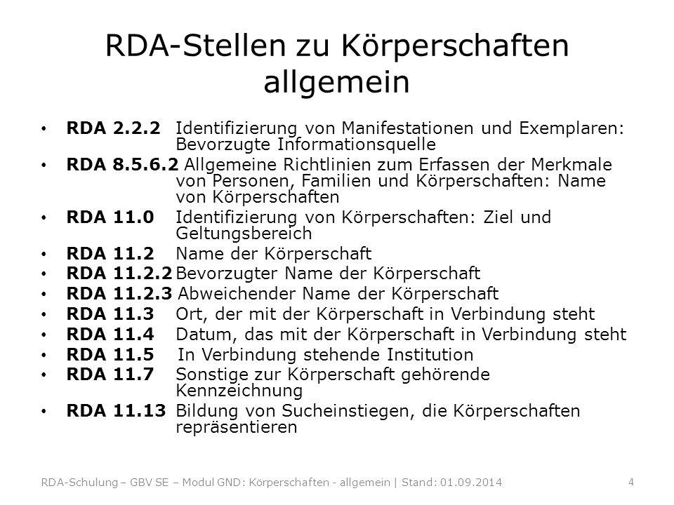 RDA-Stellen zu Körperschaften allgemein RDA 2.2.2Identifizierung von Manifestationen und Exemplaren: Bevorzugte Informationsquelle RDA 8.5.6.2 Allgeme