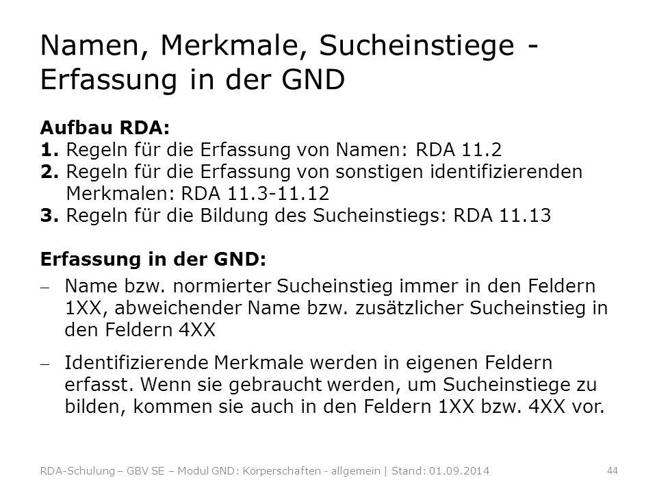 Namen, Merkmale, Sucheinstiege - Erfassung in der GND Aufbau RDA: 1. Regeln für die Erfassung von Namen: RDA 11.2 2. Regeln für die Erfassung von sons