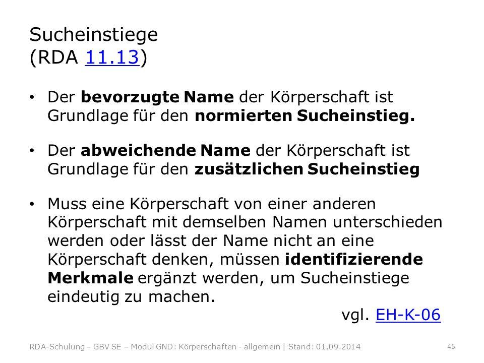 Sucheinstiege (RDA 11.13)11.13 Der bevorzugte Name der Körperschaft ist Grundlage für den normierten Sucheinstieg. Der abweichende Name der Körperscha