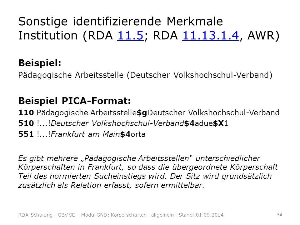 Sonstige identifizierende Merkmale Institution (RDA 11.5; RDA 11.13.1.4, AWR)11.511.13.1.4 Beispiel: Pädagogische Arbeitsstelle (Deutscher Volkshochsc