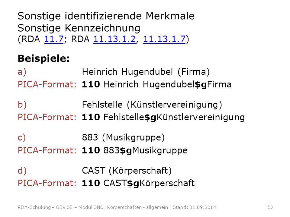 Sonstige identifizierende Merkmale Sonstige Kennzeichnung (RDA 11.7; RDA 11.13.1.2, 11.13.1.7)11.711.13.1.211.13.1.7 Beispiele: a) Heinrich Hugendubel