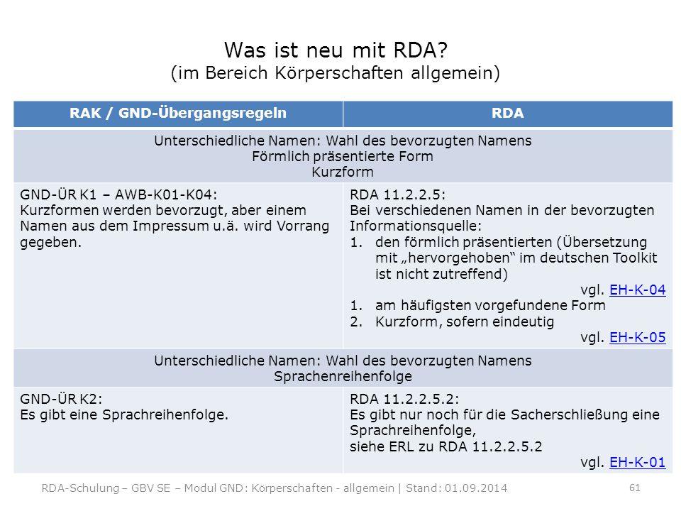 Was ist neu mit RDA? (im Bereich Körperschaften allgemein) RAK / GND-ÜbergangsregelnRDA Unterschiedliche Namen: Wahl des bevorzugten Namens Förmlich p