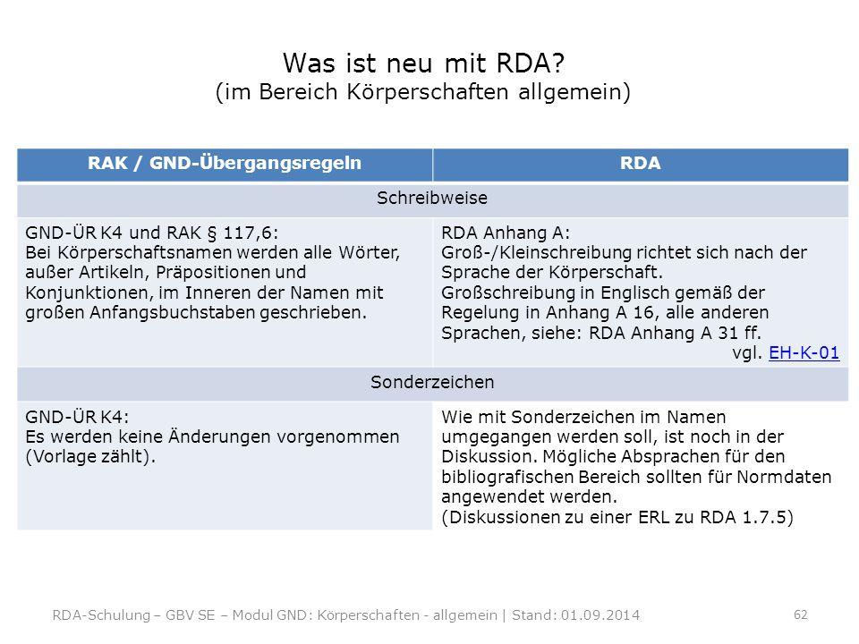 Was ist neu mit RDA? (im Bereich Körperschaften allgemein) RAK / GND-ÜbergangsregelnRDA Schreibweise GND-ÜR K4 und RAK § 117,6: Bei Körperschaftsnamen