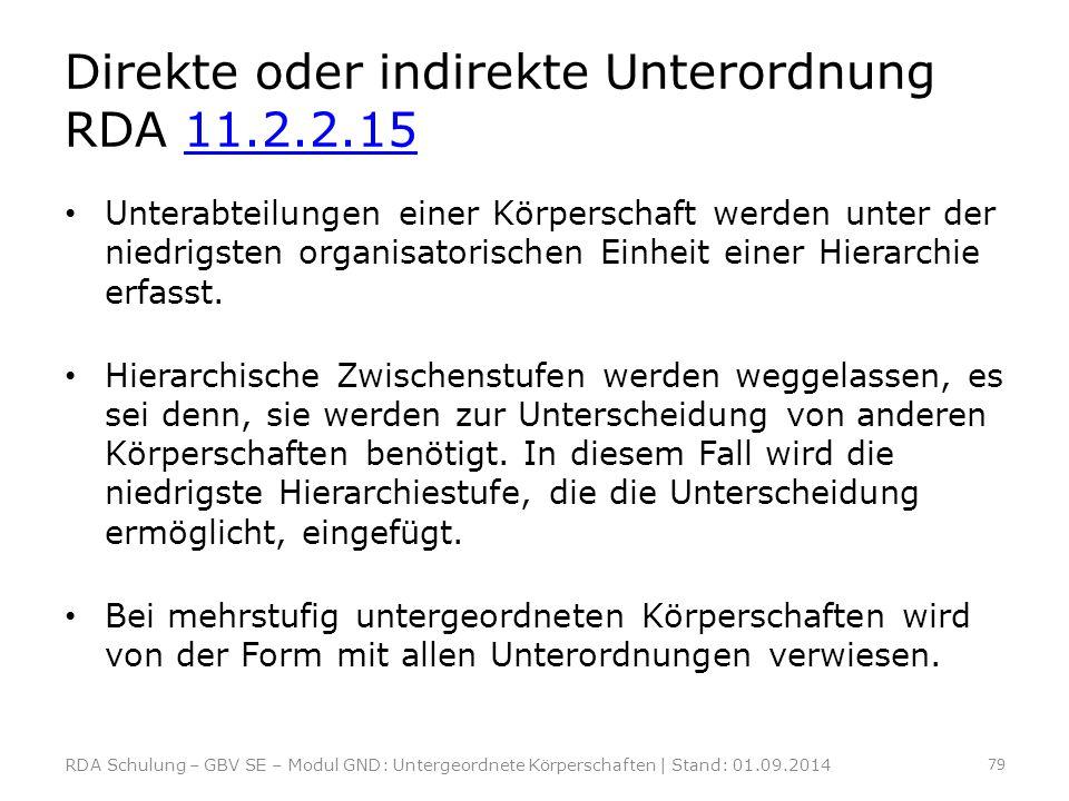 Direkte oder indirekte Unterordnung RDA 11.2.2.1511.2.2.15 Unterabteilungen einer Körperschaft werden unter der niedrigsten organisatorischen Einheit