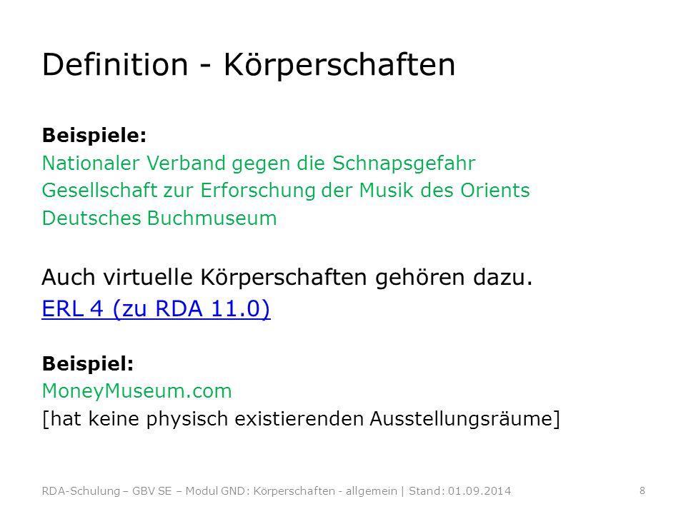 Beispiele: Nationaler Verband gegen die Schnapsgefahr Gesellschaft zur Erforschung der Musik des Orients Deutsches Buchmuseum Auch virtuelle Körpersch