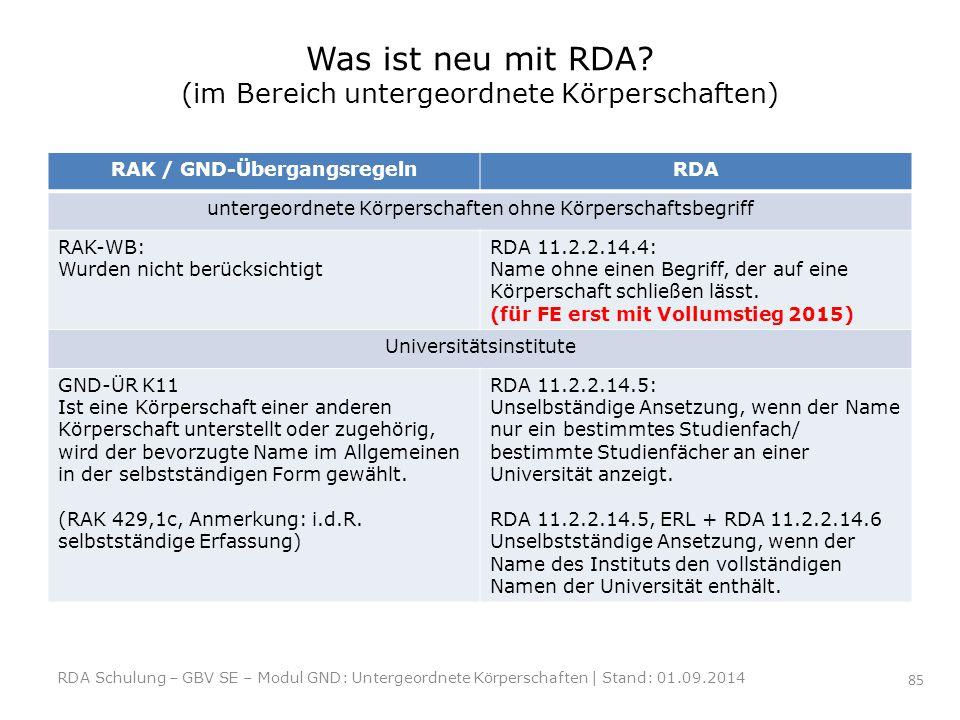 Was ist neu mit RDA? (im Bereich untergeordnete Körperschaften) RAK / GND-ÜbergangsregelnRDA untergeordnete Körperschaften ohne Körperschaftsbegriff R