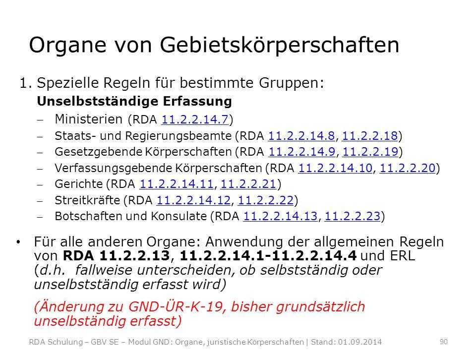 Organe von Gebietskörperschaften 1.Spezielle Regeln für bestimmte Gruppen: Unselbstständige Erfassung Ministerien (RDA 11.2.2.14.7)11.2.2.14.7 Staat
