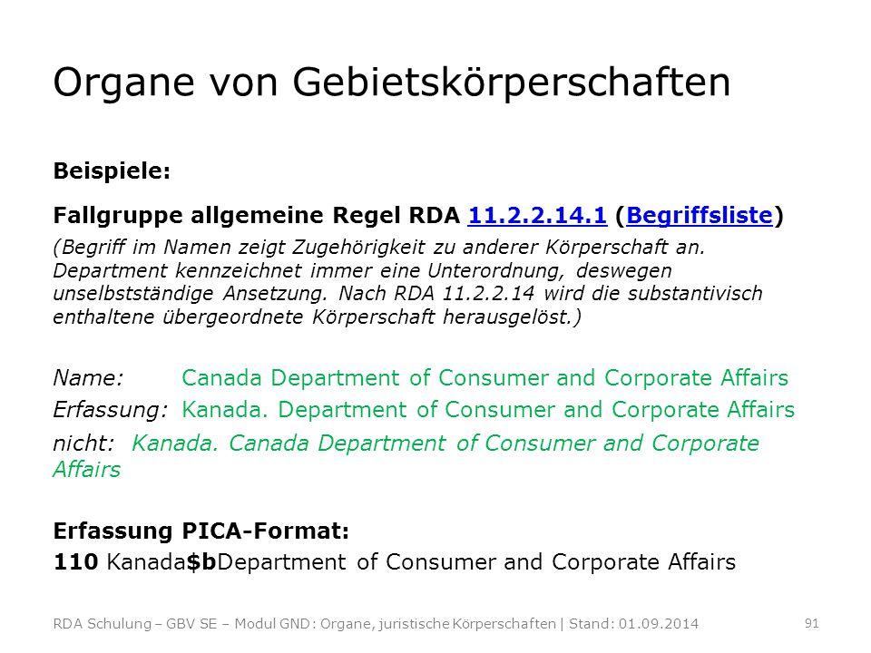 Organe von Gebietskörperschaften Beispiele: Fallgruppe allgemeine Regel RDA 11.2.2.14.1 (Begriffsliste)11.2.2.14.1Begriffsliste (Begriff im Namen zeig