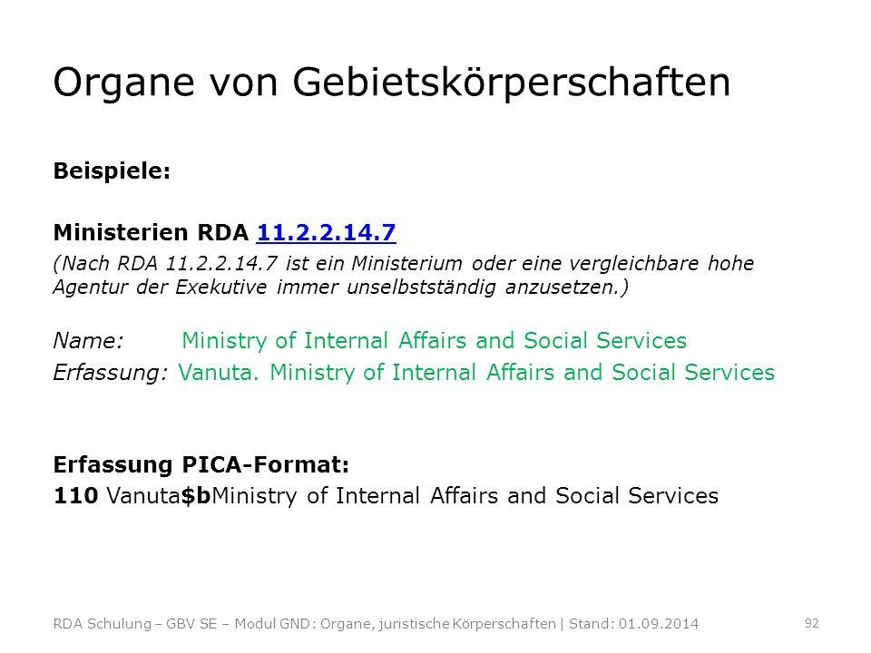 Organe von Gebietskörperschaften Beispiele: Ministerien RDA 11.2.2.14.711.2.2.14.7 (Nach RDA 11.2.2.14.7 ist ein Ministerium oder eine vergleichbare h