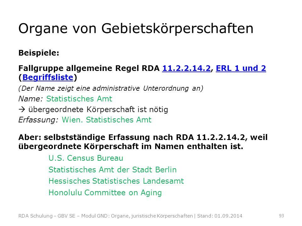 Organe von Gebietskörperschaften Beispiele: Fallgruppe allgemeine Regel RDA 11.2.2.14.2, ERL 1 und 2 (Begriffsliste)11.2.2.14.2ERL 1 und 2Begriffslist
