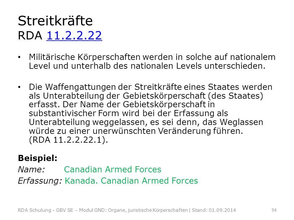 Streitkräfte RDA 11.2.2.2211.2.2.22 Militärische Körperschaften werden in solche auf nationalem Level und unterhalb des nationalen Levels unterschiede