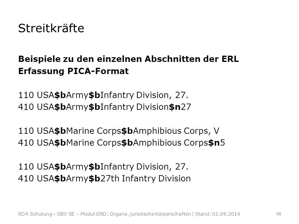 Streitkräfte Beispiele zu den einzelnen Abschnitten der ERL Erfassung PICA-Format 110 USA$bArmy$bInfantry Division, 27. 410 USA$bArmy$bInfantry Divisi