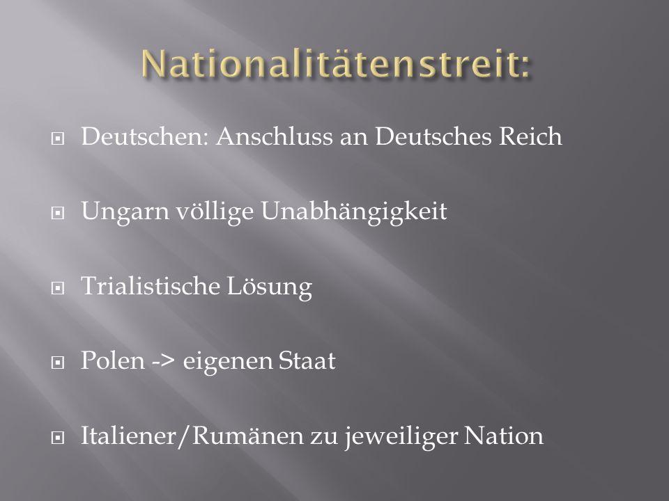 Deutschen: Anschluss an Deutsches Reich  Ungarn völlige Unabhängigkeit  Trialistische Lösung  Polen -> eigenen Staat  Italiener/Rumänen zu jewei