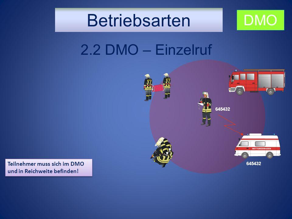 Betriebsarten 2.2 DMO – Einzelruf Teilnehmer muss sich im DMO und in Reichweite befinden! DMO 645432