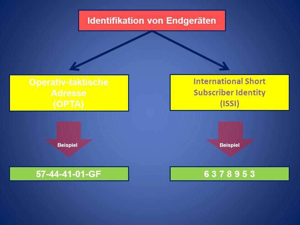 Kennwort der BOS -Einheit Einsatzbereich (Ort) Teilkennzahlen 1.