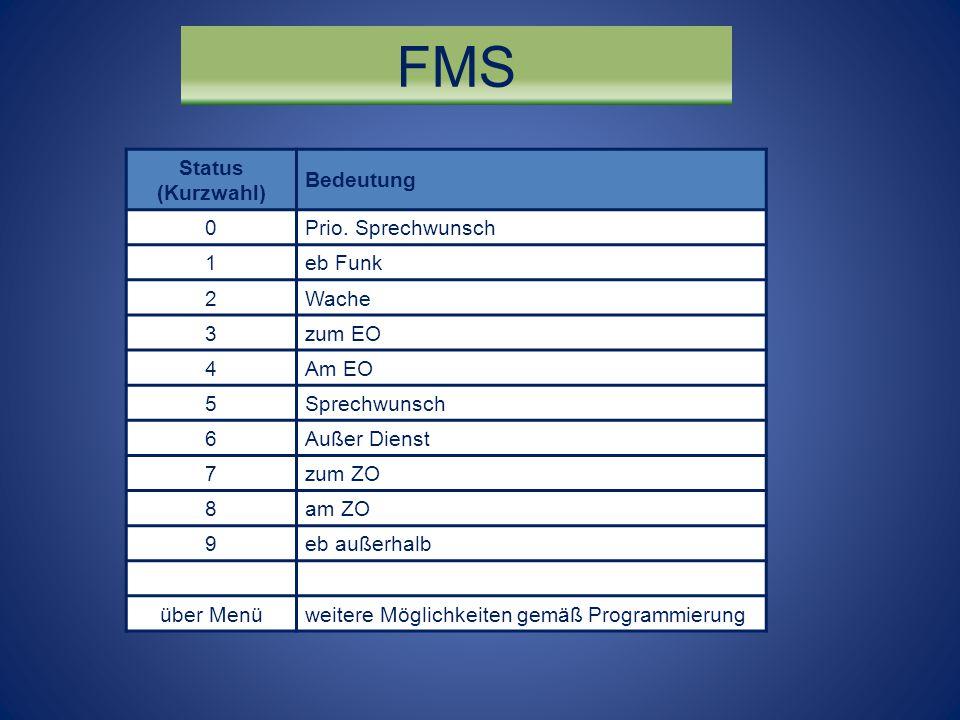 FMS Status (Kurzwahl) Bedeutung 0Prio. Sprechwunsch 1eb Funk 2Wache 3zum EO 4Am EO 5Sprechwunsch 6Außer Dienst 7zum ZO 8am ZO 9eb außerhalb über Menüw