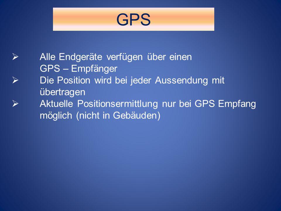GPS  Alle Endgeräte verfügen über einen GPS – Empfänger  Die Position wird bei jeder Aussendung mit übertragen  Aktuelle Positionsermittlung nur be