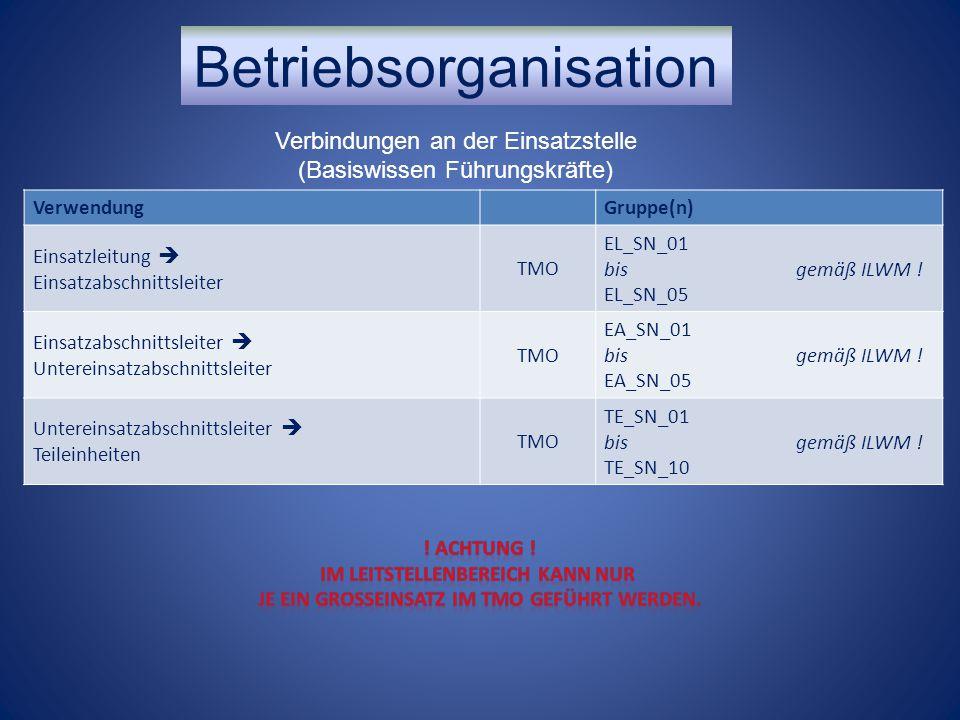 VerwendungGruppe(n) Einsatzleitung  Einsatzabschnittsleiter TMO EL_SN_01 bis gemäß ILWM ! EL_SN_05 Einsatzabschnittsleiter  Untereinsatzabschnittsle