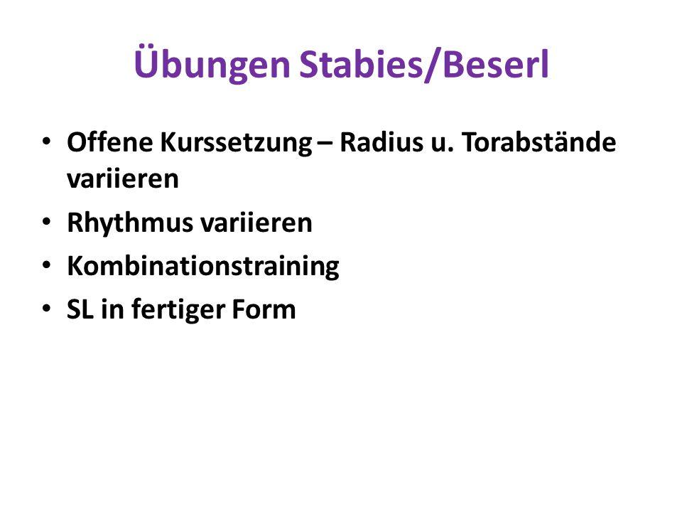 Übungen Stabies/Beserl Offene Kurssetzung – Radius u. Torabstände variieren Rhythmus variieren Kombinationstraining SL in fertiger Form