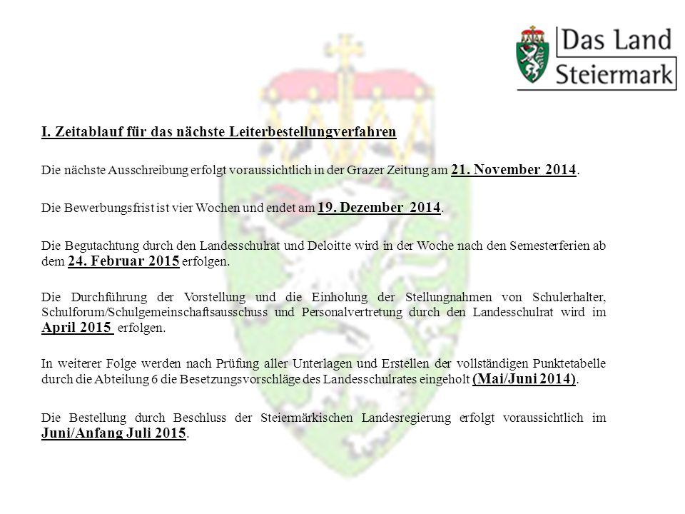I. Zeitablauf für das nächste Leiterbestellungverfahren Die nächste Ausschreibung erfolgt voraussichtlich in der Grazer Zeitung am 21. November 2014.