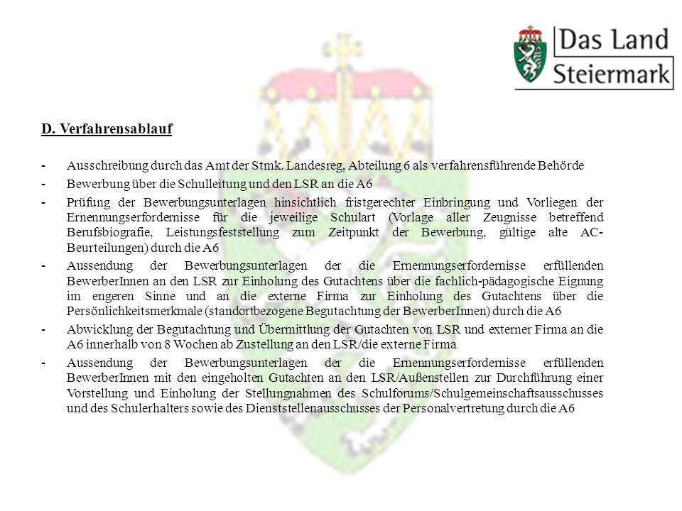 D. Verfahrensablauf -Ausschreibung durch das Amt der Stmk.