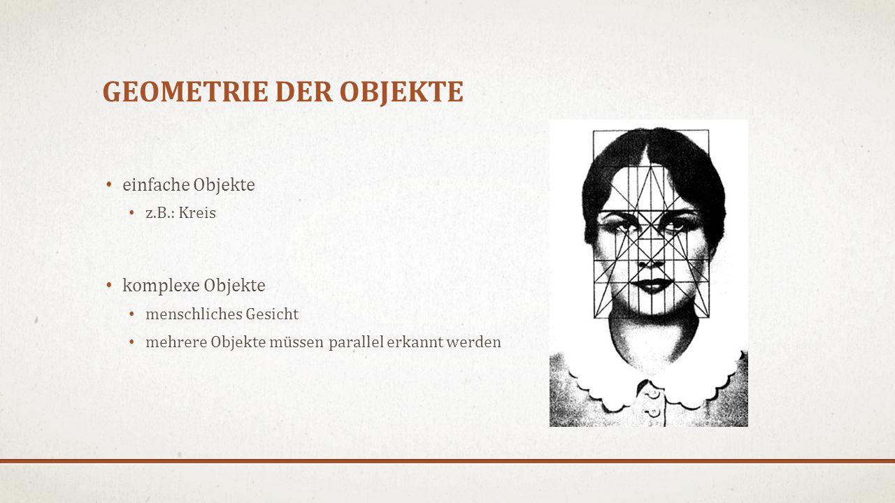 GEOMETRIE DER OBJEKTE einfache Objekte z.B.: Kreis komplexe Objekte menschliches Gesicht mehrere Objekte müssen parallel erkannt werden