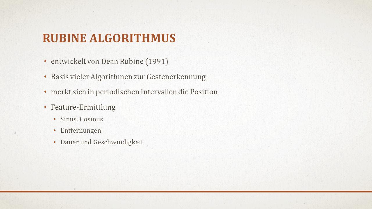 RUBINE ALGORITHMUS entwickelt von Dean Rubine (1991) Basis vieler Algorithmen zur Gestenerkennung merkt sich in periodischen Intervallen die Position Feature-Ermittlung Sinus, Cosinus Entfernungen Dauer und Geschwindigkeit