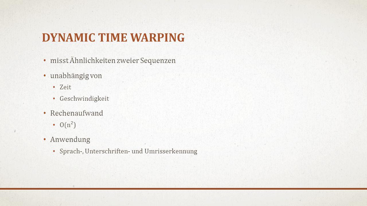 DYNAMIC TIME WARPING misst Ähnlichkeiten zweier Sequenzen unabhängig von Zeit Geschwindigkeit Rechenaufwand O(n²) Anwendung Sprach-, Unterschriften- und Umrisserkennung