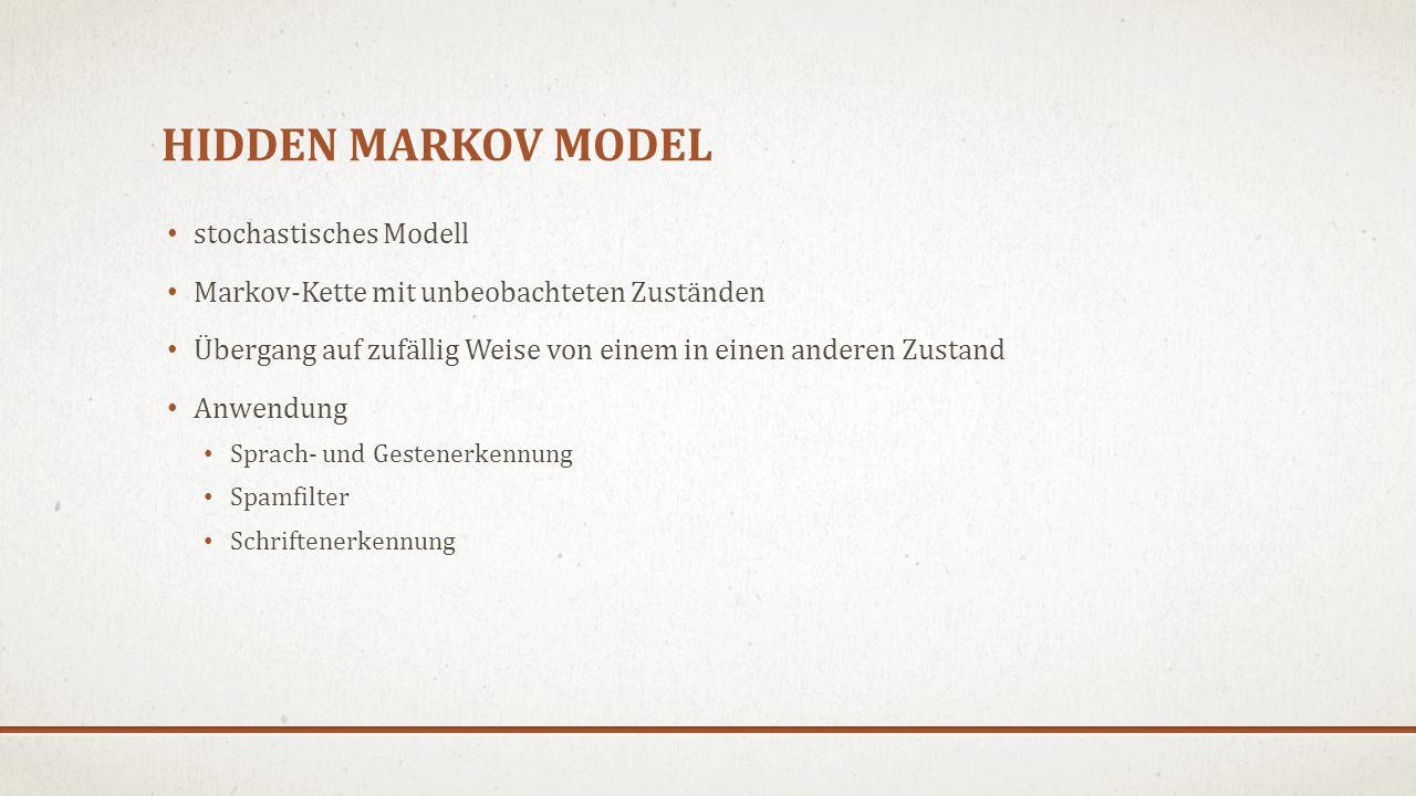 HIDDEN MARKOV MODEL stochastisches Modell Markov-Kette mit unbeobachteten Zuständen Übergang auf zufällig Weise von einem in einen anderen Zustand Anwendung Sprach- und Gestenerkennung Spamfilter Schriftenerkennung