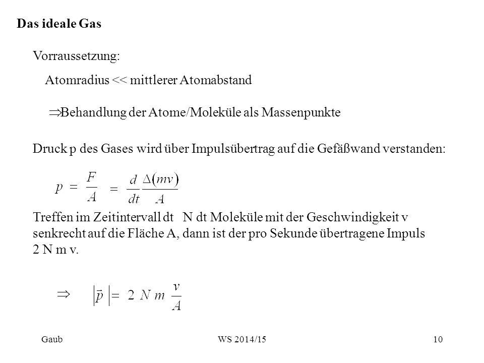 Das ideale Gas Vorraussetzung: Atomradius << mittlerer Atomabstand  Behandlung der Atome/Moleküle als Massenpunkte Druck p des Gases wird über Impuls