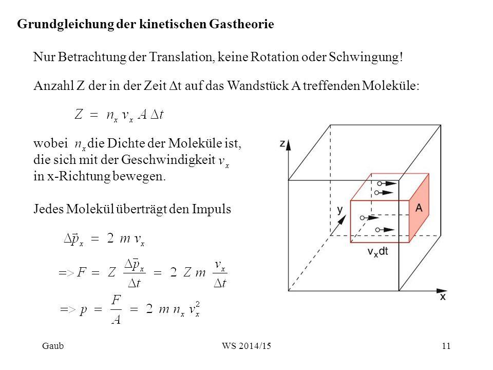 Grundgleichung der kinetischen Gastheorie Nur Betrachtung der Translation, keine Rotation oder Schwingung! Anzahl Z der in der Zeit Δt auf das Wandstü