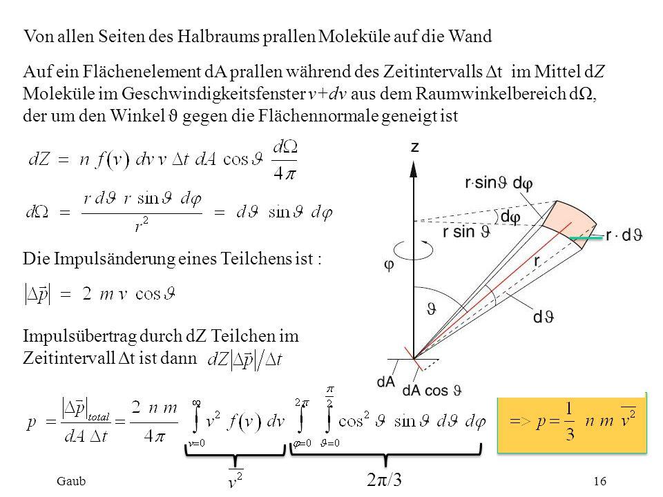 Auf ein Flächenelement dA prallen während des Zeitintervalls Δt im Mittel dZ Moleküle im Geschwindigkeitsfenster v+dv aus dem Raumwinkelbereich dΩ, de