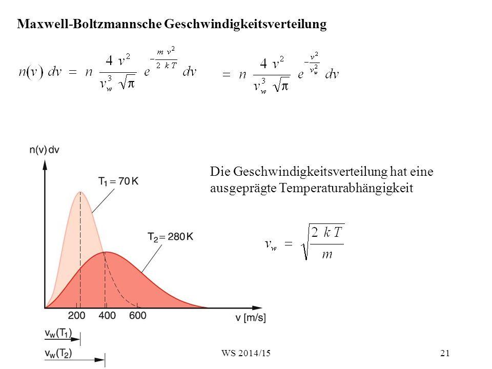 Maxwell-Boltzmannsche Geschwindigkeitsverteilung Die Geschwindigkeitsverteilung hat eine ausgeprägte Temperaturabhängigkeit 21WS 2014/15