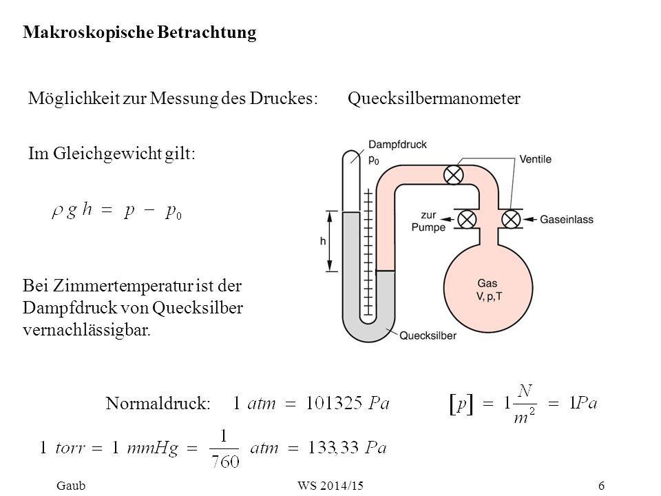 Makroskopische Betrachtung Möglichkeit zur Messung des Druckes:Quecksilbermanometer Im Gleichgewicht gilt: Bei Zimmertemperatur ist der Dampfdruck von