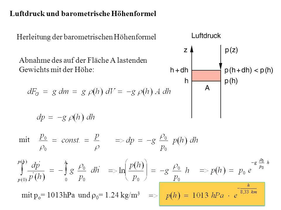 Luftdruck und barometrische Höhenformel Herleitung der barometrischen Höhenformel Abnahme des auf der Fläche A lastenden Gewichts mit der Höhe: mit mi