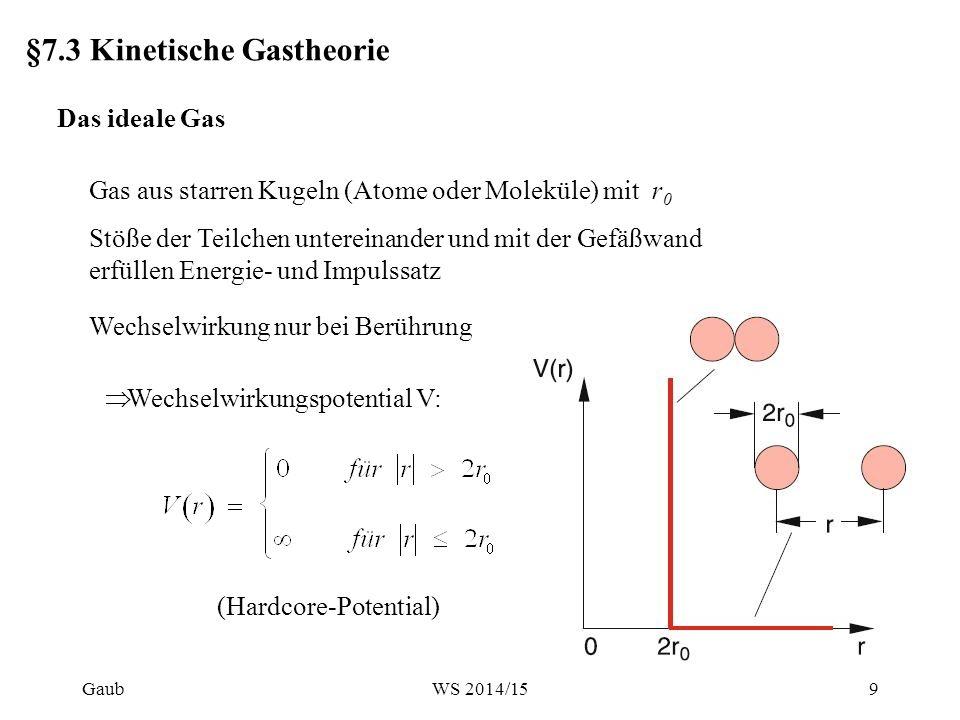 §7.3 Kinetische Gastheorie Das ideale Gas Gas aus starren Kugeln (Atome oder Moleküle) mit r 0 Stöße der Teilchen untereinander und mit der Gefäßwand