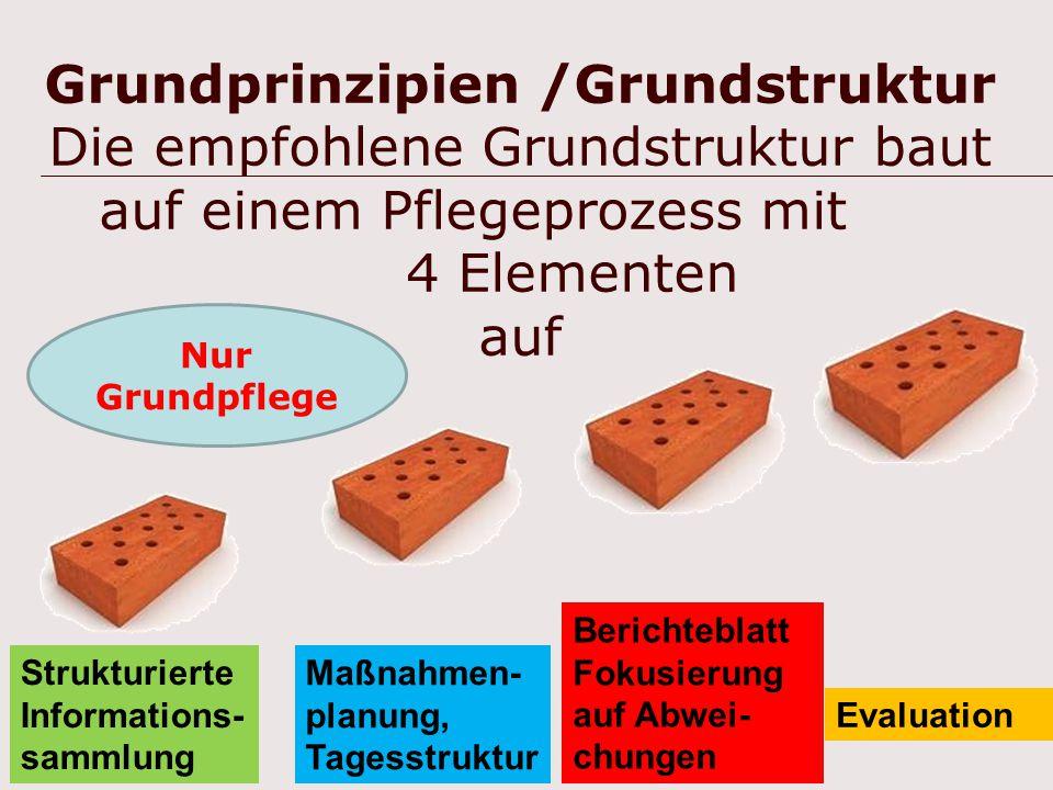 14 Grundprinzipien /Grundstruktur Die empfohlene Grundstruktur baut auf einem Pflegeprozess mit 4 Elementen auf Berichteblatt Fokusierung auf Abwei- c