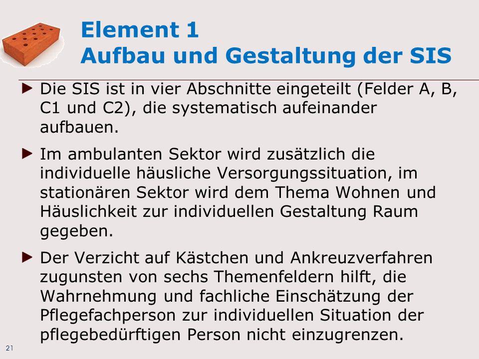 21 Element 1 Aufbau und Gestaltung der SIS Die SIS ist in vier Abschnitte eingeteilt (Felder A, B, C1 und C2), die systematisch aufeinander aufbauen.