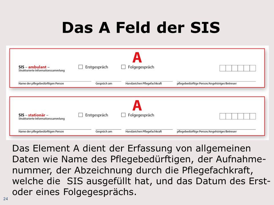 24 Das A Feld der SIS Das Element A dient der Erfassung von allgemeinen Daten wie Name des Pflegebedürftigen, der Aufnahme- nummer, der Abzeichnung du