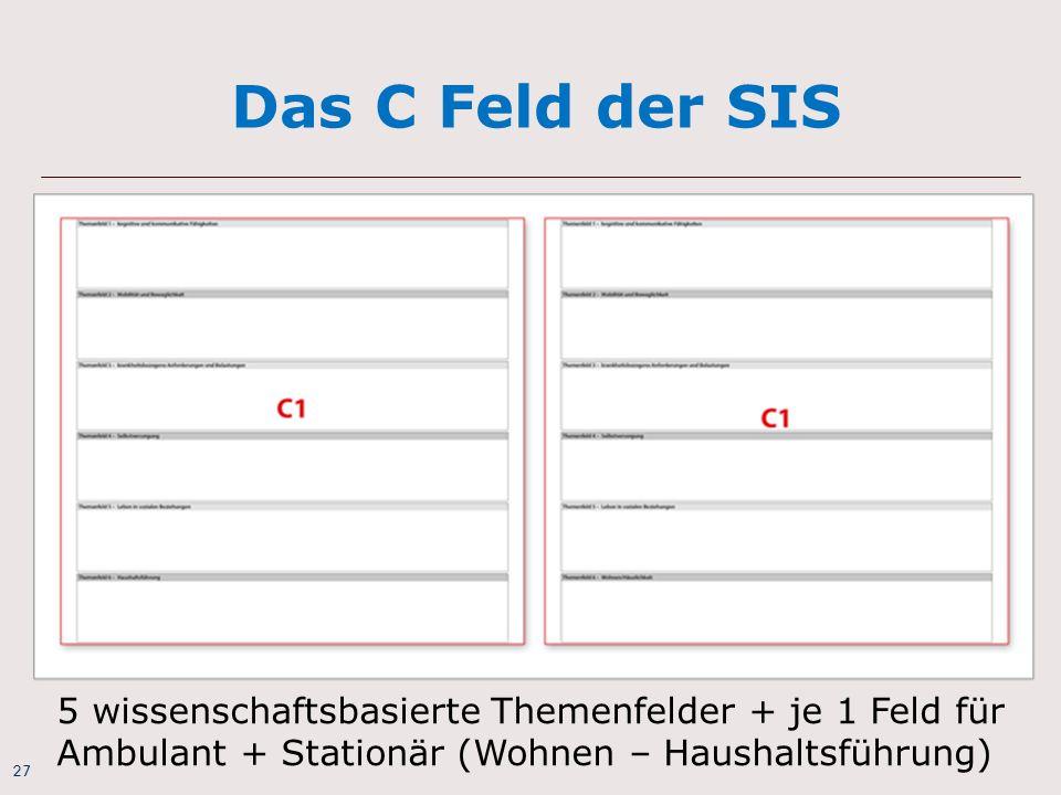 27 Das C Feld der SIS 5 wissenschaftsbasierte Themenfelder + je 1 Feld für Ambulant + Stationär (Wohnen – Haushaltsführung)