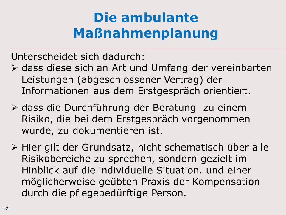 32 Die ambulante Maßnahmenplanung Unterscheidet sich dadurch:  dass diese sich an Art und Umfang der vereinbarten Leistungen (abgeschlossener Vertrag