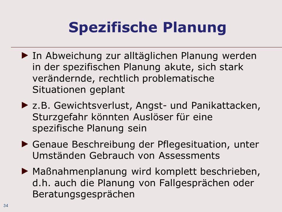 34 Spezifische Planung In Abweichung zur alltäglichen Planung werden in der spezifischen Planung akute, sich stark verändernde, rechtlich problematisc