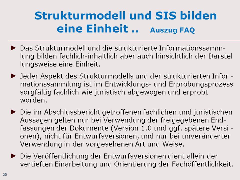 35 Strukturmodell und SIS bilden eine Einheit.. Auszug FAQ Das Strukturmodell und die strukturierte Informationssamm- lung bilden fachlich-inhaltlich