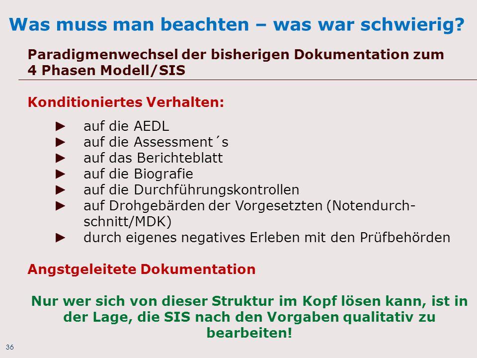 36 Was muss man beachten – was war schwierig? Paradigmenwechsel der bisherigen Dokumentation zum 4 Phasen Modell/SIS Konditioniertes Verhalten: auf di